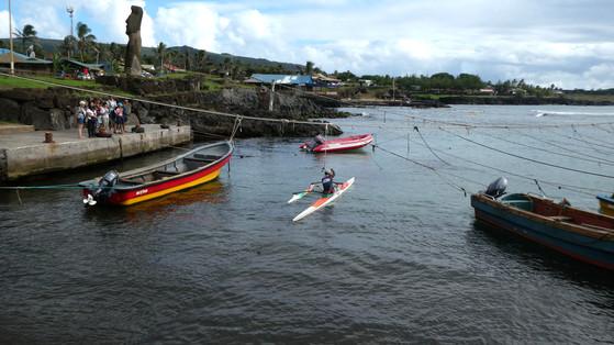 Hanga Roa Harbor with canoe