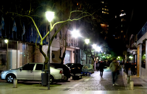 Buenos Aires side street at night
