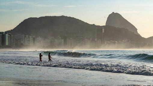 Swimmers prepare to dive in