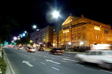 Teatro Colón at night