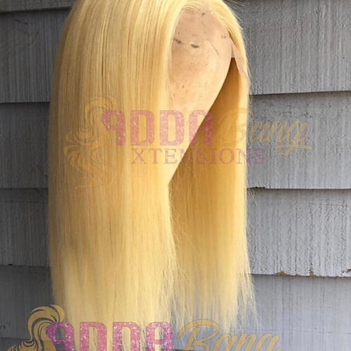 Straight blonde 12 inch frontal wig