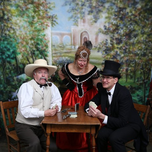 Kimary Marchese watching Victorian card players, Daniel Michael and George Fischer