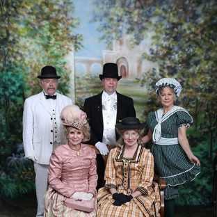 Victorian Society of Colorado Members - front: Suze Ketchem and Liz Smith, back: Daniel Michael, Mark Hardy and Gloria Makarevich