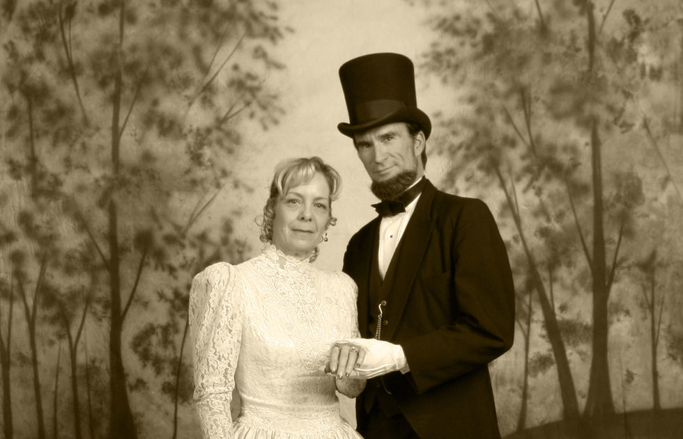 """President Abraham Lincoln"" and his lovely wife ""Mary Todd Lincoln"" aka John & Pam Voehl"