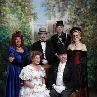 Victorian Society of Colorado Members - front: Fran Schilt and Mark Hardy, back: Alexandria Siez, Daniel Michael, Connor Cheadle, Henriette Gregorio