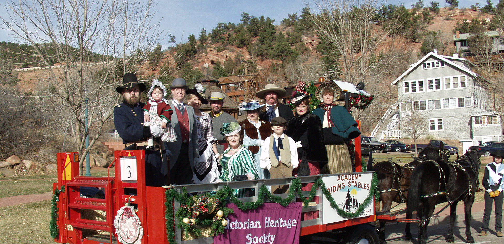 "Manitou Springs Parade - Back: Tom Wilhelm & grandchild from Canon City, CO, Bill See from Aurora, CO, Denise Winter (founder of the VSCS turned VSC), from Colorado Springs, CO, Randy Cordova from Walsenburg, CO, Tess Adams from Colorado Springs, Tim & Jackie Matz aka ""Daisy Mae"" from Divide, CO, and Cathy White from Pueblo. Front: Rita Wilhelm & grandchild, David Wilhelm"