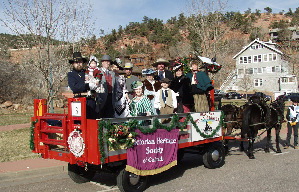 """Manitou Springs Parade - Back: Tom Wilhelm & grandchild from Canon City, CO, Bill See from Aurora, CO, Denise Winter (founder of the VSCS turned VSC), from Colorado Springs, CO, Randy Cordova from Walsenburg, CO, Tess Adams from Colorado Springs, Tim & Jackie Matz aka """"Daisy Mae"""" from Divide, CO, and Cathy White from Pueblo. Front: Rita Wilhelm & grandchild, David Wilhelm"""