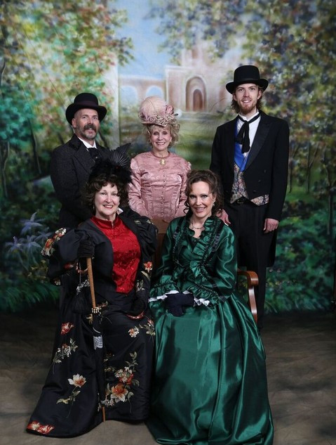 Victorian Society of Colorado Members - front: Linda Huerta & Lora Cheadle, back: Rick and Suze Ketchem and Jesse Ogg
