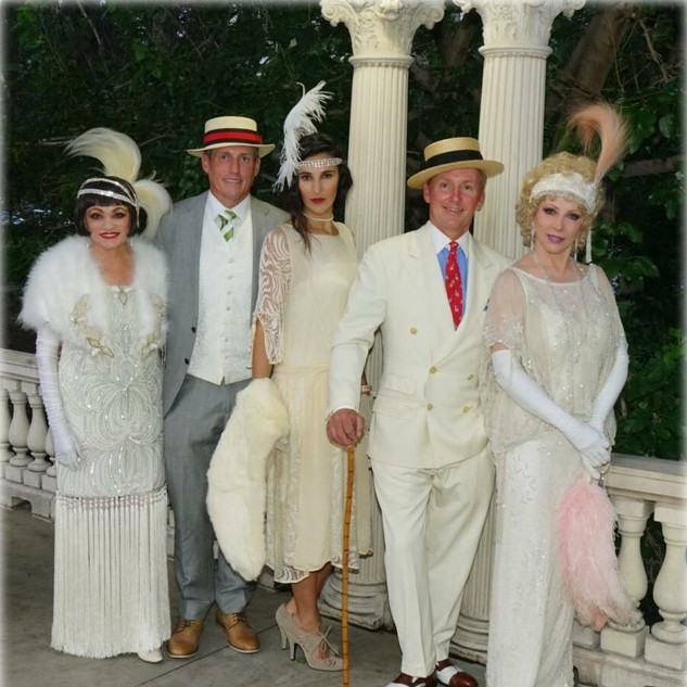 1920s White Party in Denver, CO - Rita Smith, John Gustafson, Nico Nagel, David, Lona Miller