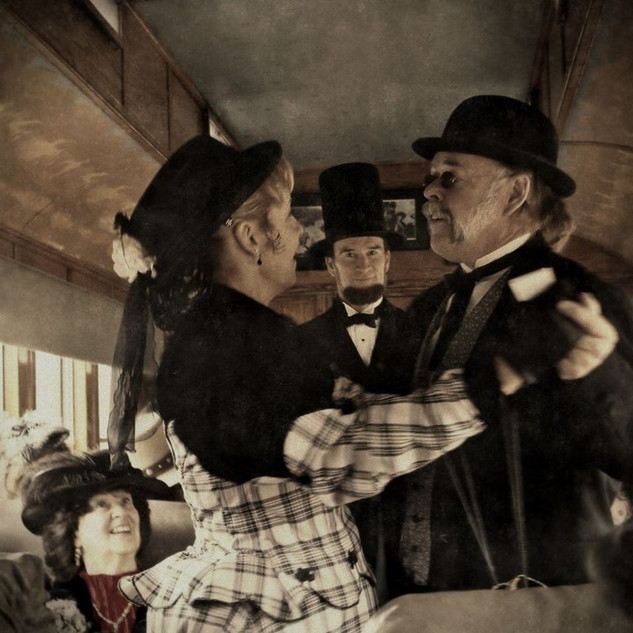 Dancing on the train as part of the Durango Heritage celebration