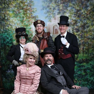 Victorian Society of Colorado Members - front: Suze and Rick Ketchem, back: Linda Huerta, Jesse Ogg and George Fischer