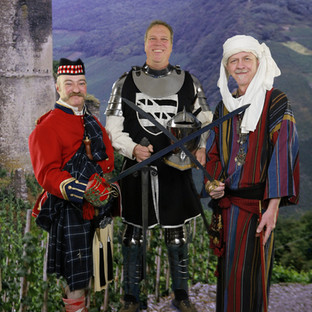 Travis Wright, Greg Van Hare & Bill Bloch in Victorian Fancy Dress Ball outfits, the equivalent of today's masquerade balls