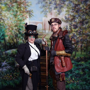 Victorian Society of Colorado Members-Linda Huerta and Jesse Ogg in steampunk attire. This is what the Victorians throught the future would look like.