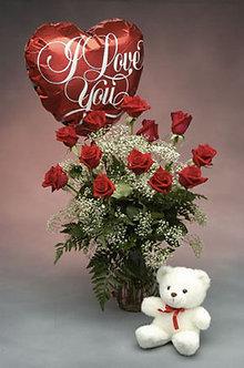 6 rosas con ilusión + oso + globo