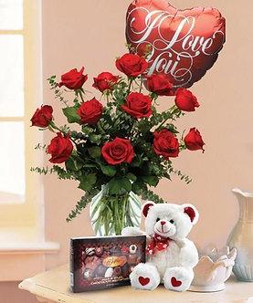 6 rosas + bombones + oso + globo
