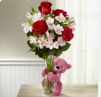 Bouquet con 6 rosas + astromelias + peluche