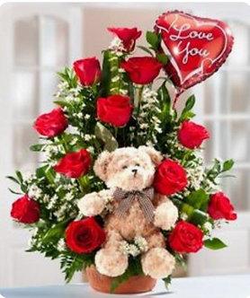 Bouquet 12 rosas + peluche + globo