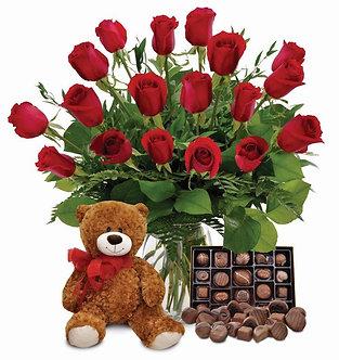 12 rosas + bombones + oso