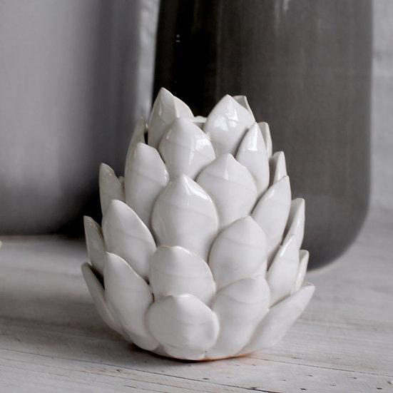 Glazed Natural Artichoke Candle Holder