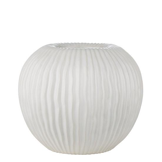 'Estrid' White Ribbed Vase