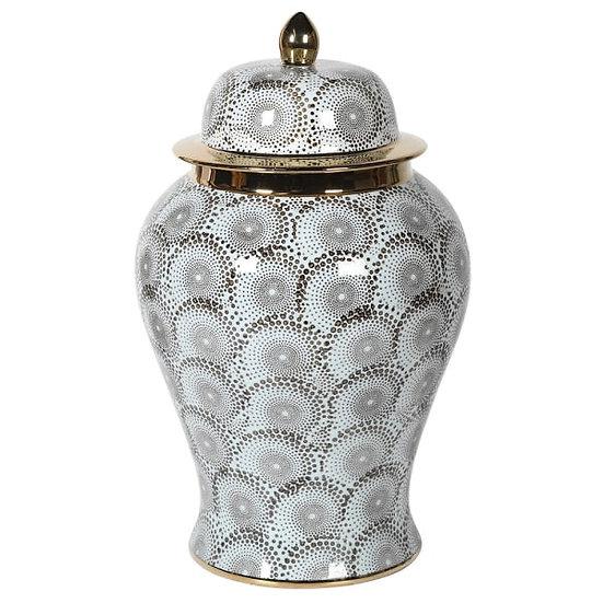 Grey & Gold Ceramic Ginger Jar