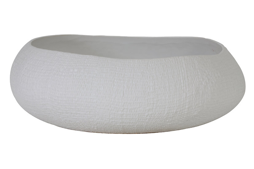 'Aspro' White textured Decorative Bowl