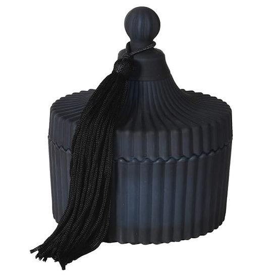 Large Textured Black Candle Jar with tassle
