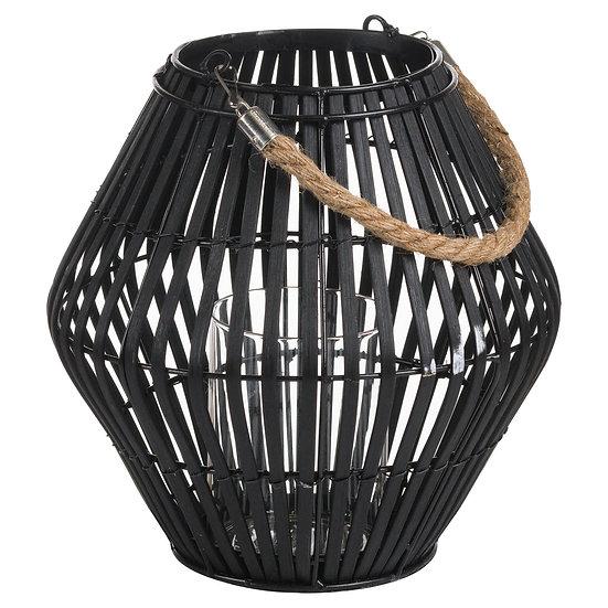 'Fjord' Black Convex Wicker Lantern