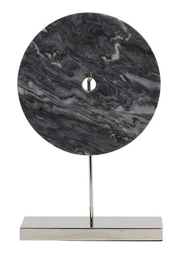 'Ares' Grey Marble & Nickel Sculpture