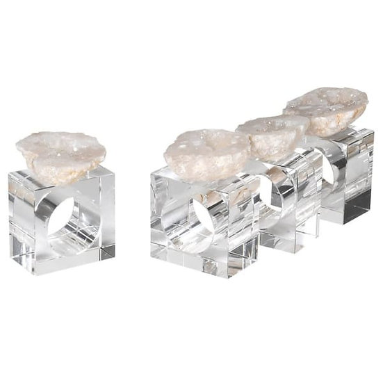 Natural Quartz Geode Napkin Rings (Set of 4)