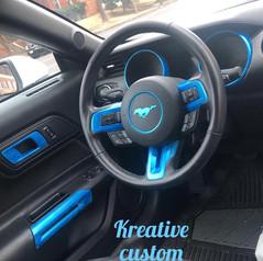 Blue painted car trim