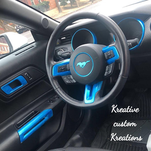 Mustang interior trim painted Blue