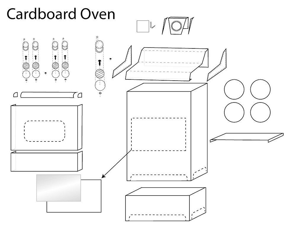DIY Cardboard Play Oven for Kids Instructions