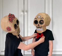 Cardboard sugar skull costumes