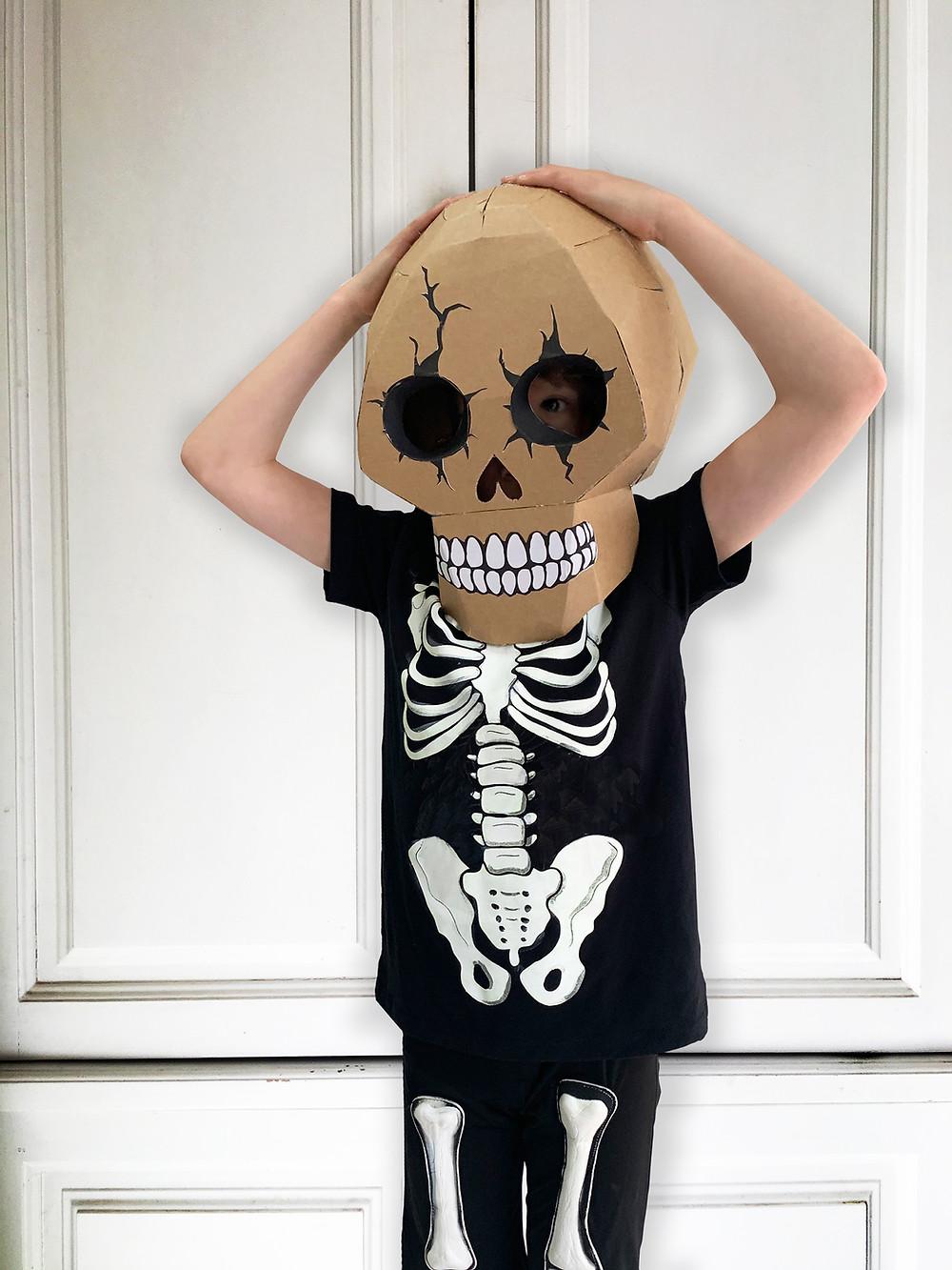 Scary cardboard skull costume for Halloween