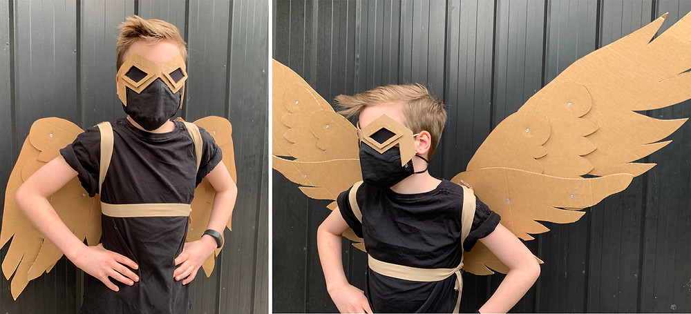 Cardboard Super Hero Costume with Falcon Wings