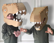 Cardboard dinosaur head