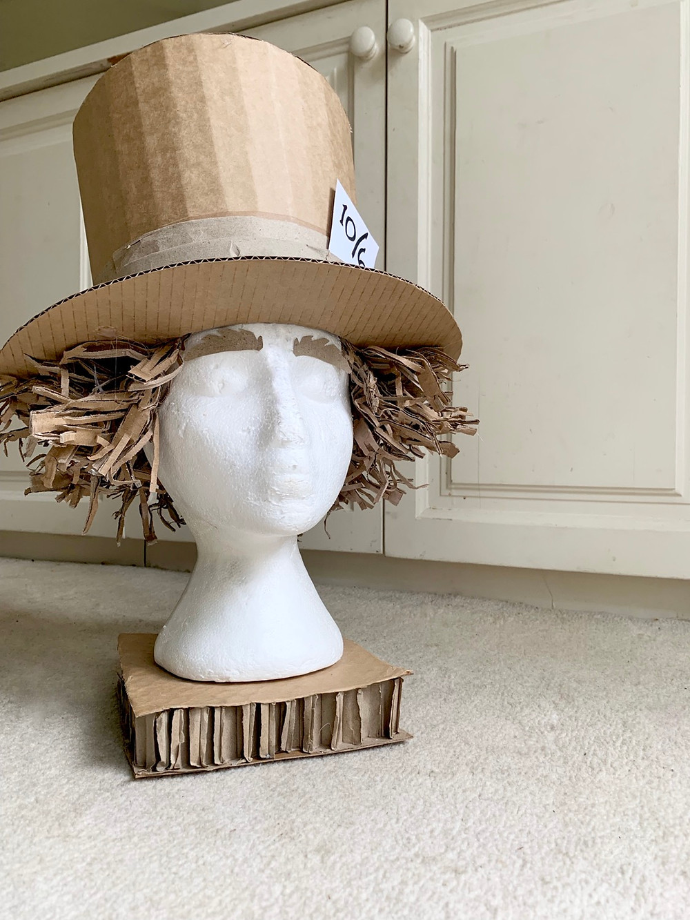 Cardboard Mad hatter costume hat made from up cycled material