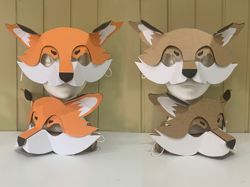 How to make a fox mask out of cardboard and paper.