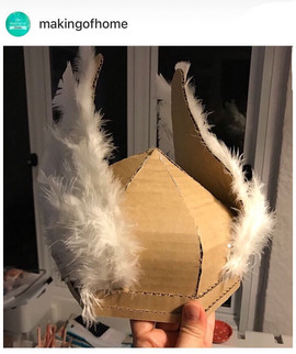 Cardboard viking helmet with wings
