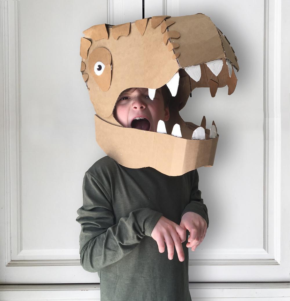 DIY Cardboard Dinosaur Head Costume