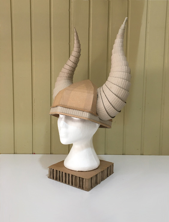 Cardboard Costume Viking Helmet with Horns