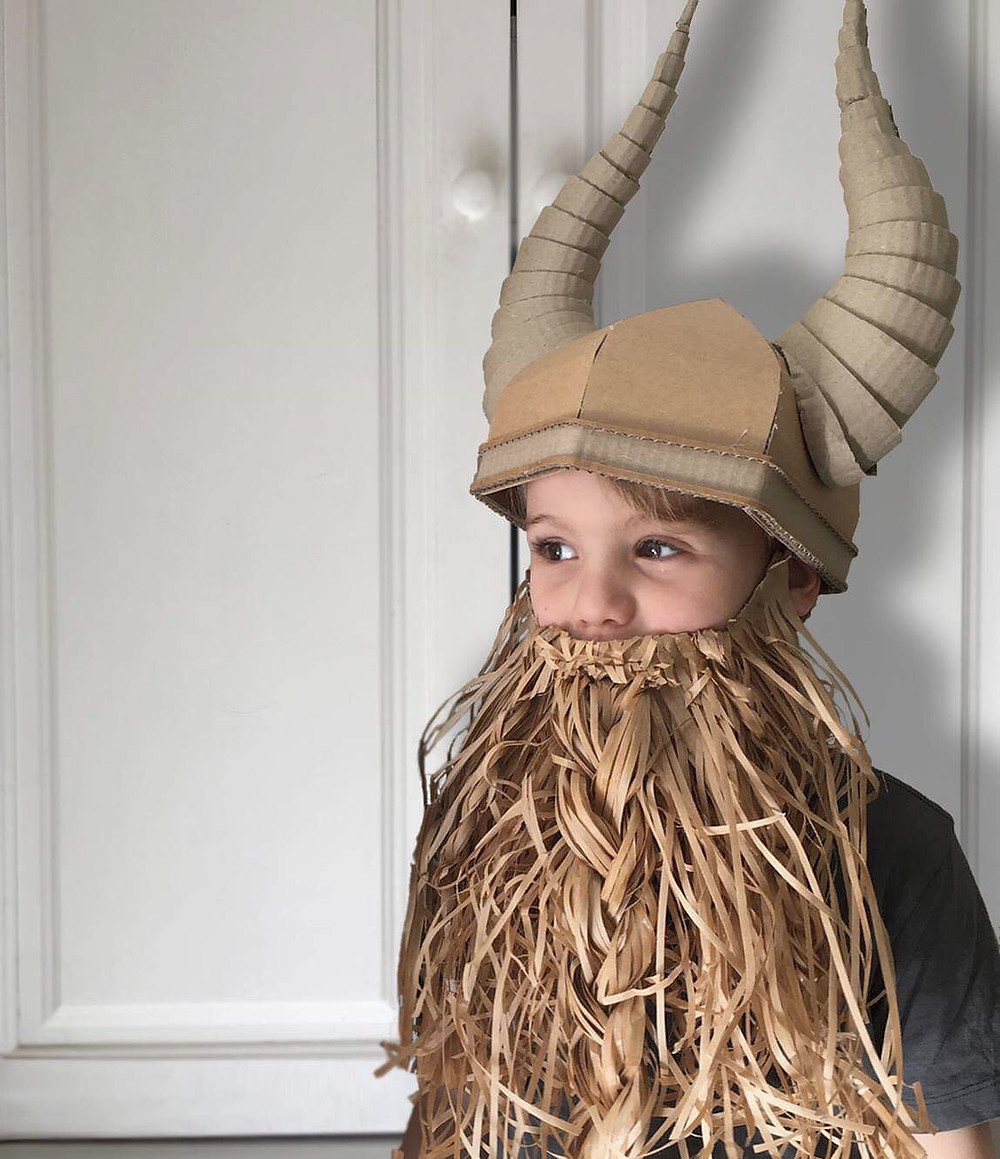 DIY Cardboard Costume Viking Helmet with Horns