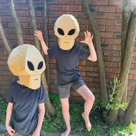 Cardboard alien costume