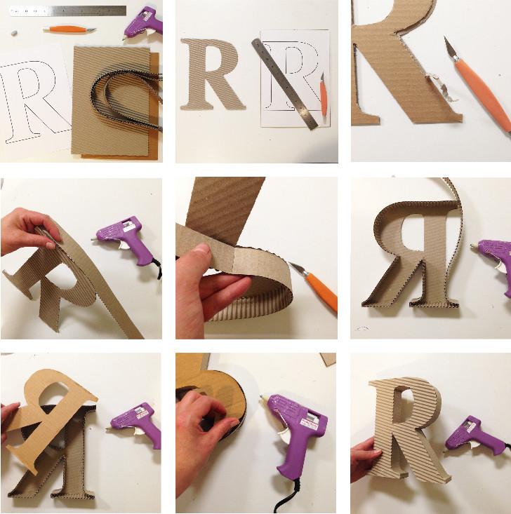 Large 3D Cardboard Font Letter Instructions