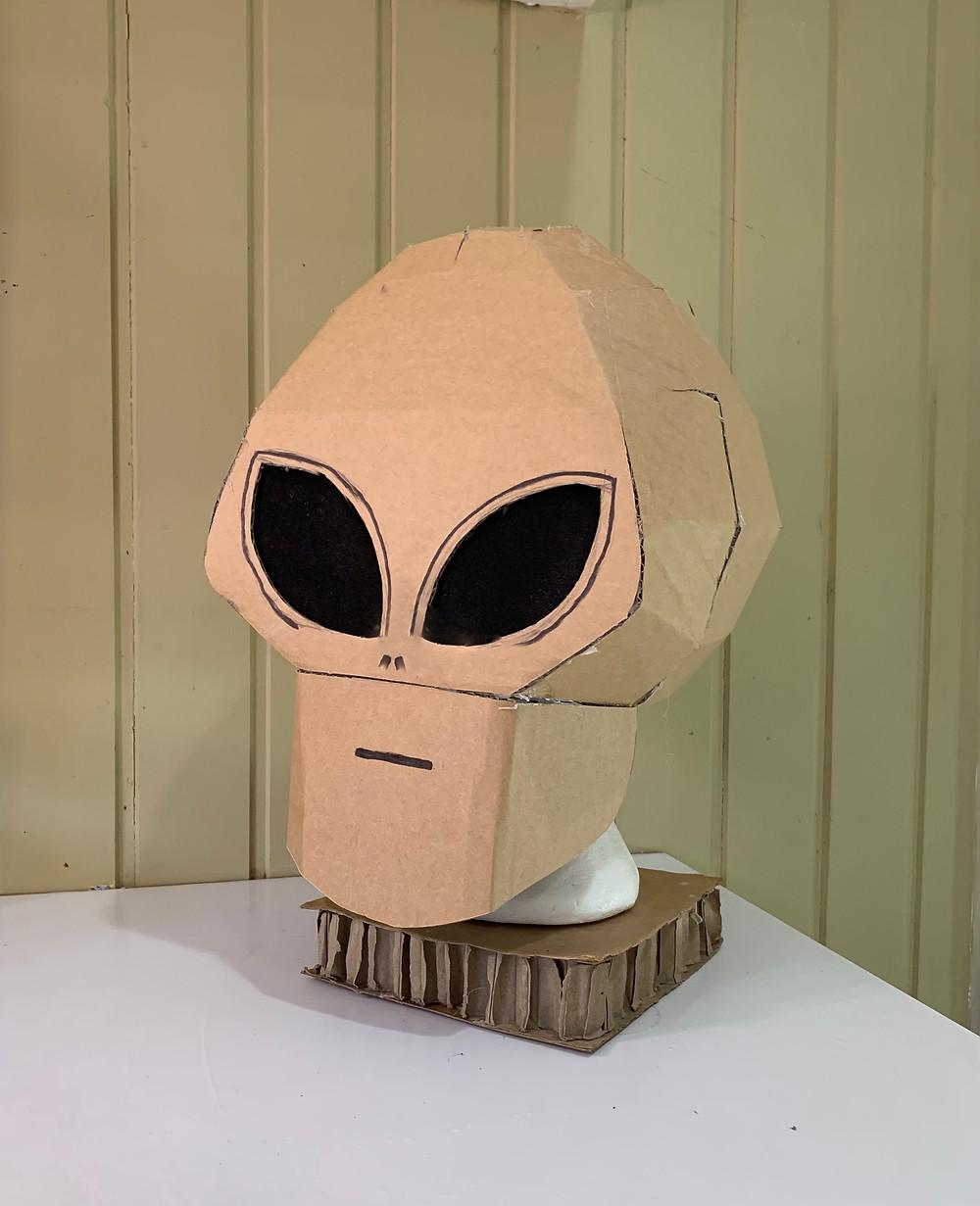 Cardboard alien mask costume for halloween or fancy dress