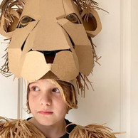 Cardboard Lion headdress costume
