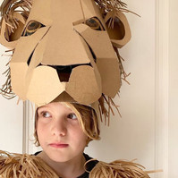 Cardboard Lion headdress costume