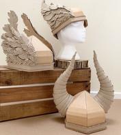 Cardboard viking helmets