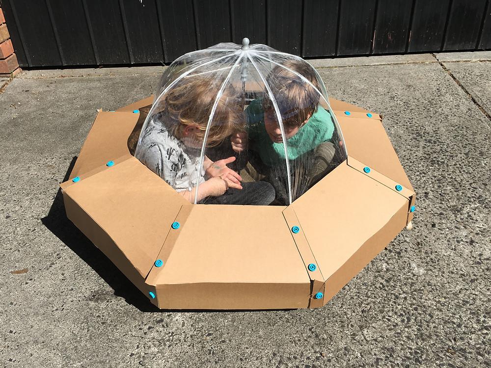 DIY Cardboard Spaceship Costume